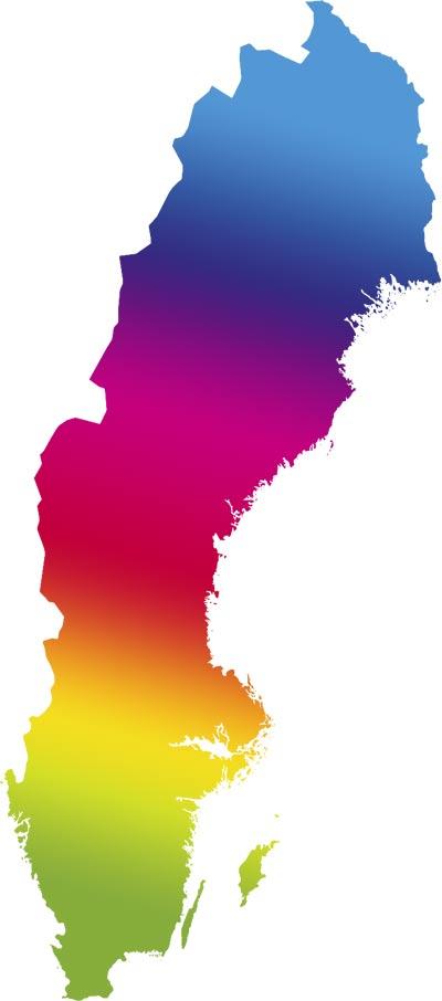 Regnbågskarta över Sverige
